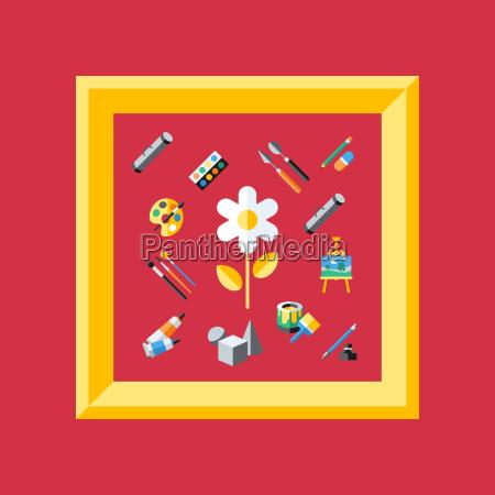 digital vector red artist icons set