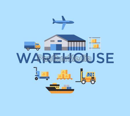 digital vector yellow blue warehouse icons