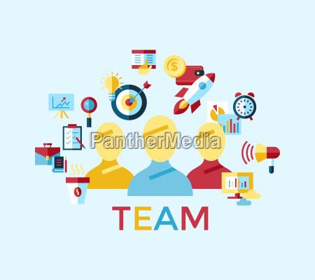 digital vector blue red startup team