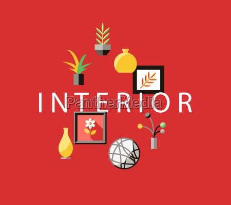 digital vector red furniture icons with