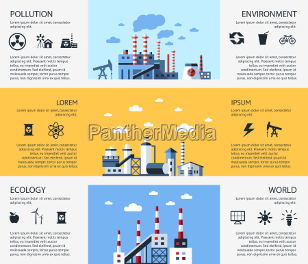 digital vector yellow blue factory pollution