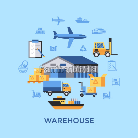 digitale vektor gelb blaue warehouse icons