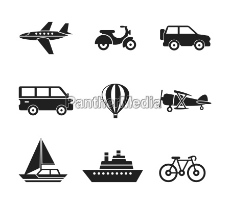 digital vector black travel transport icons
