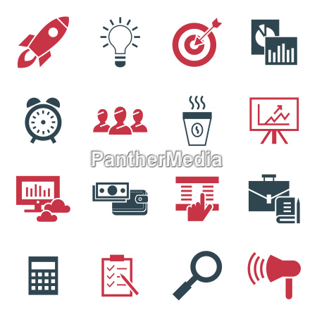 digital vector black red startup icons