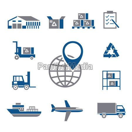 digital vector silver blue warehouse icons