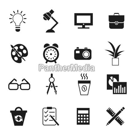 digital vektor schwarz arbeitsraum symbole gesetzt