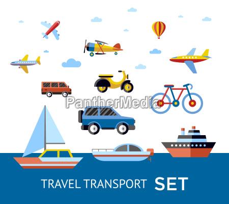 digital vector blue red travel transport