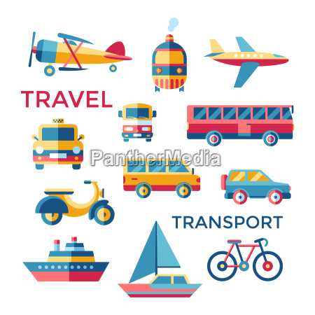 digital vector blue red yellow travel