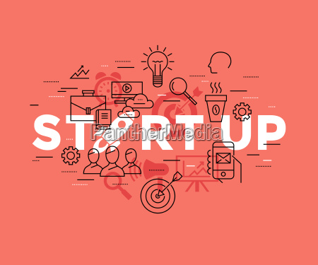 digital vector red startup team icons