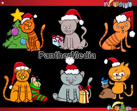 cat characters on christmas cartoon set