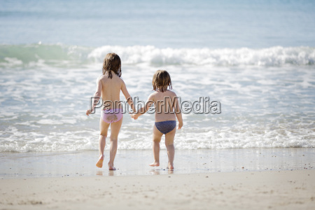 rear view of two girls wearing