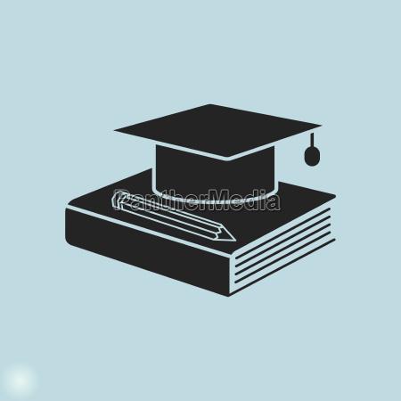 bildung symbol graduierung muetze buch und