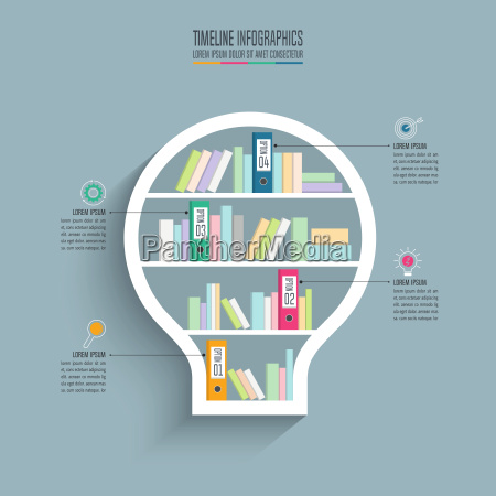 creative concept for infographic lightbulb bookshelf