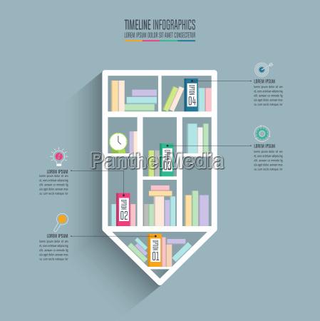 creative concept for infographic pencil bookshelf