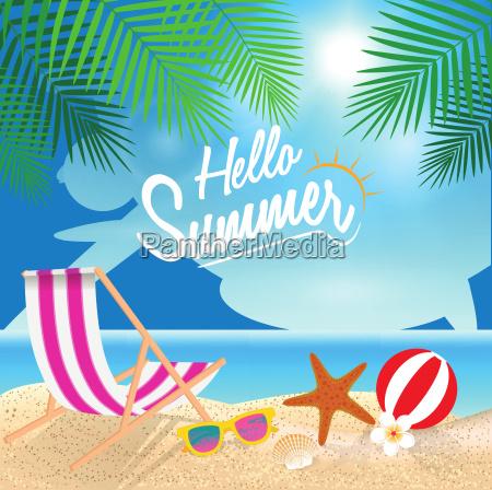 hallo sommer urlaub hintergrund strandstuhl sonnenbrille