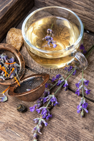 healing herbal tea with lavender