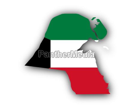 karte und fahne von kuwait