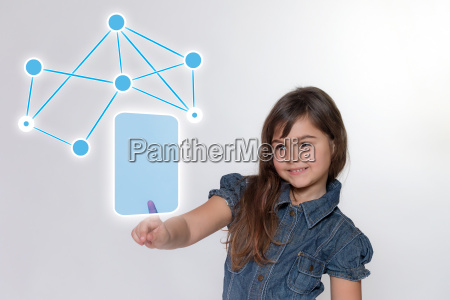 smiling little girl and social network