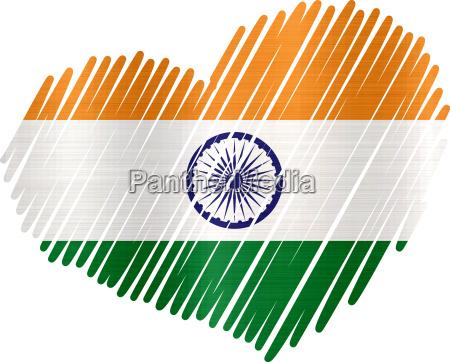 flag heart india metallic texture