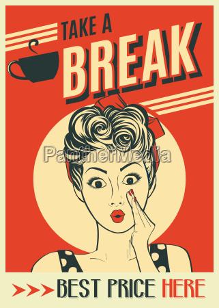 werbung kaffee retro poster mit pop