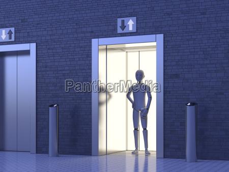 robot standing in elevator
