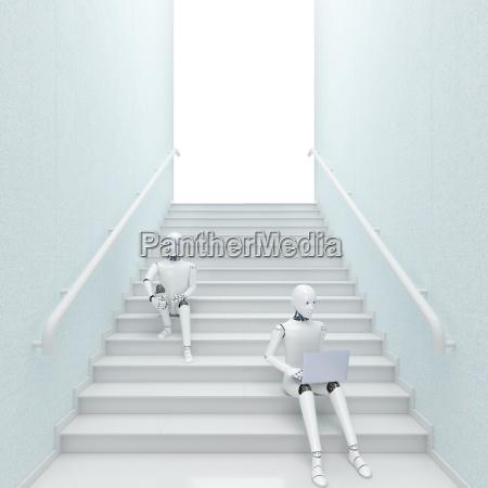 robot sitting on stairs using laptop