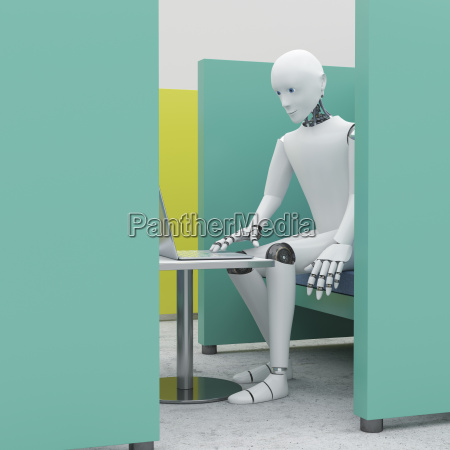 robot using laptop in office cubicle