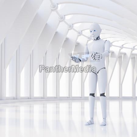 robot using futuristic tablet 3d rendering