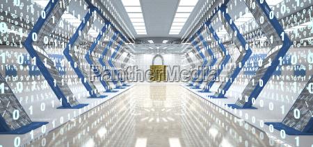 futuristic digital room with padlock and
