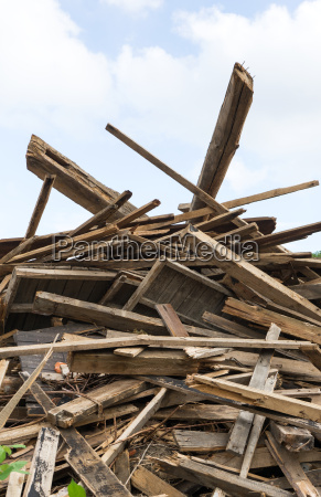 wooden pile with planks and beams