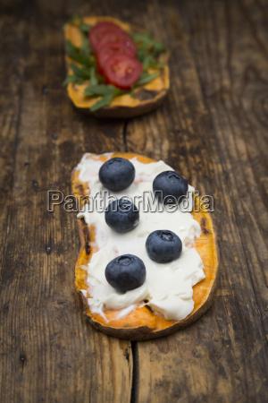 toasted sweet potato slice garnished with