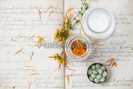 dried medical plants and globuli on