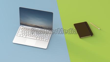 laptop next to notebook 3d rendering