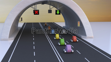 3d rendering cars following green arrow