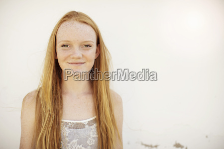 portrait of smiling girl with long