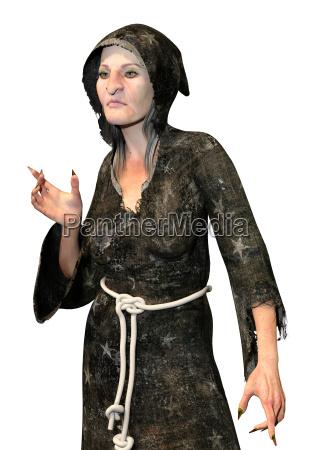 grafika 3d witch czarownica na bialym