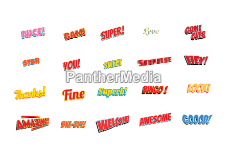 cartoon words label set isolated on