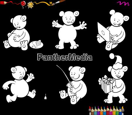 cartoon bear characters set coloring book
