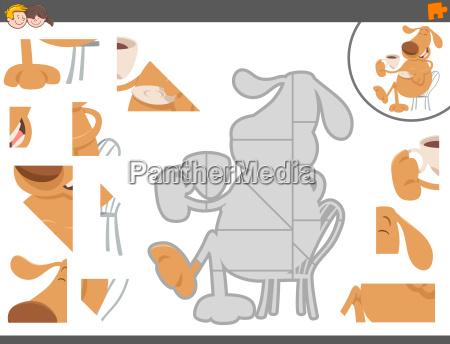 puzzle spiel mit lustigen hund