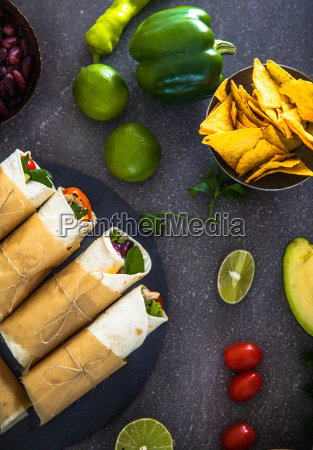 tortilla wraps with vegetables