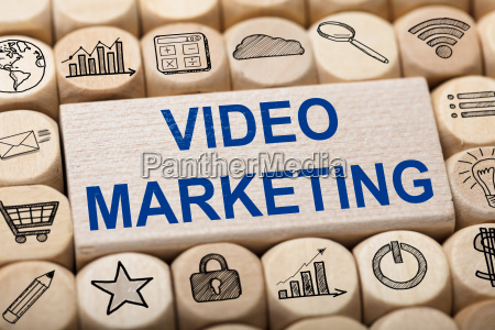video marketing text on wooden block