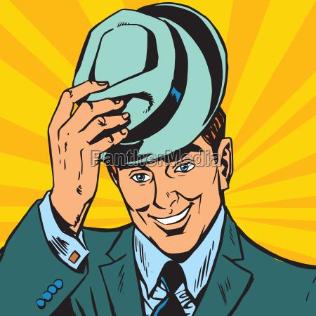 avatar portrait sanfter mann hebt seinen