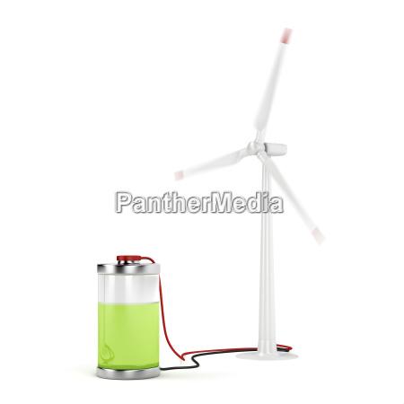 aufladen der batterie mit windkraftanlage