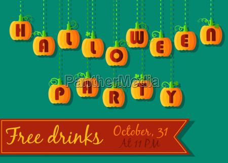 halloween partyeinladung lustige kuerbis schriftart