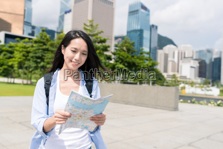 woman travel in hong kong with
