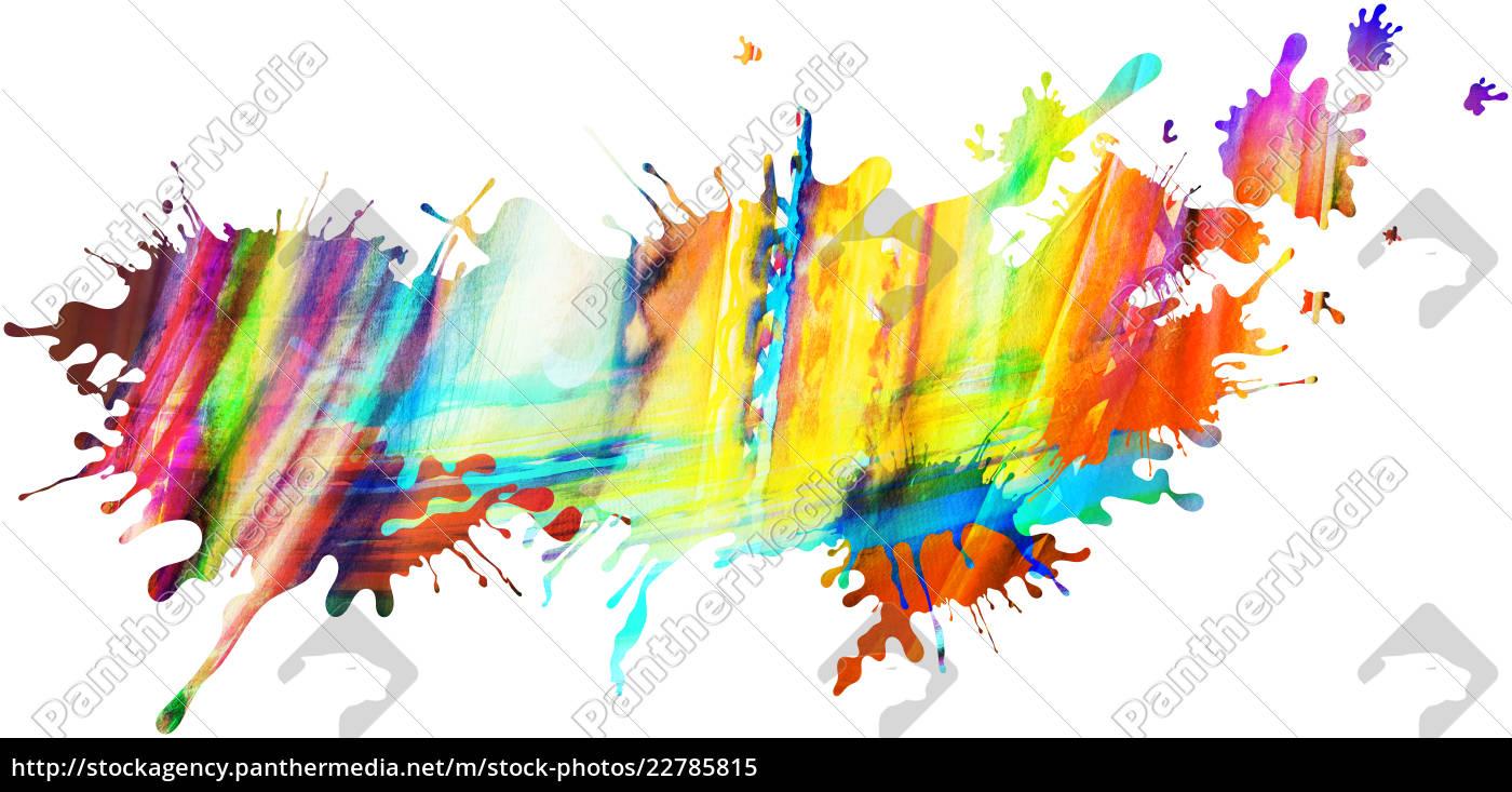 Kleckse Farben Regenbogen Freigestellt Muster Lizenzfreies Bild