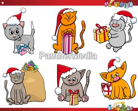 cats on christmas time cartoon set