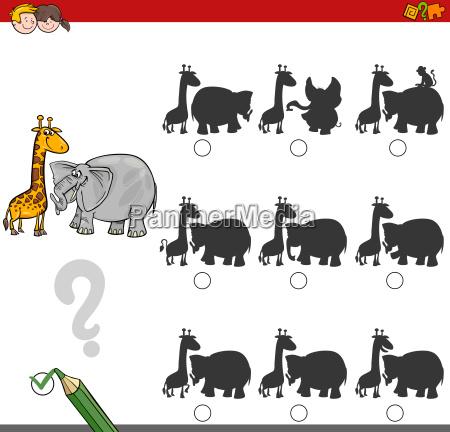 shadow game activity with safari animals