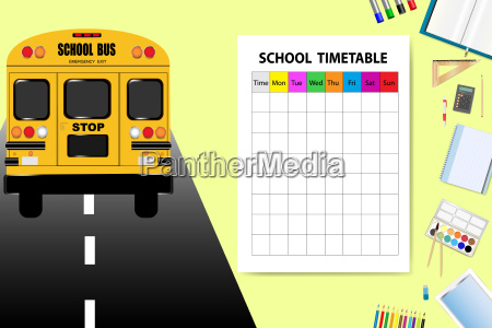 school bus and school equipment with
