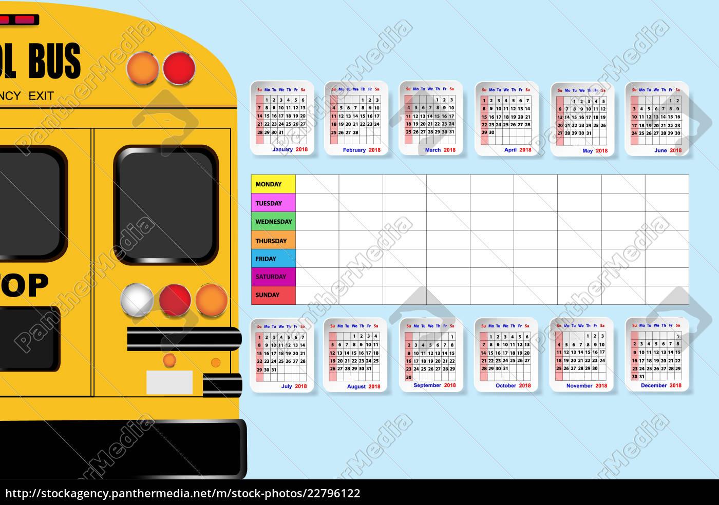 Stock Bild 22796122 schulbus und kalender